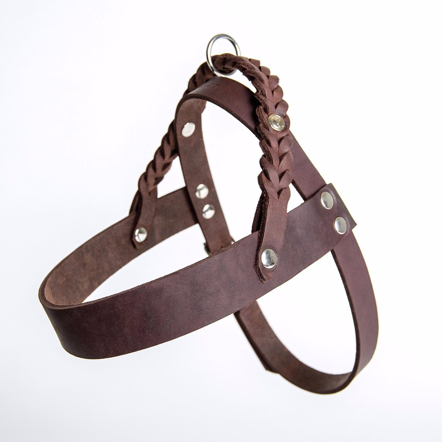 soft leather dog harness