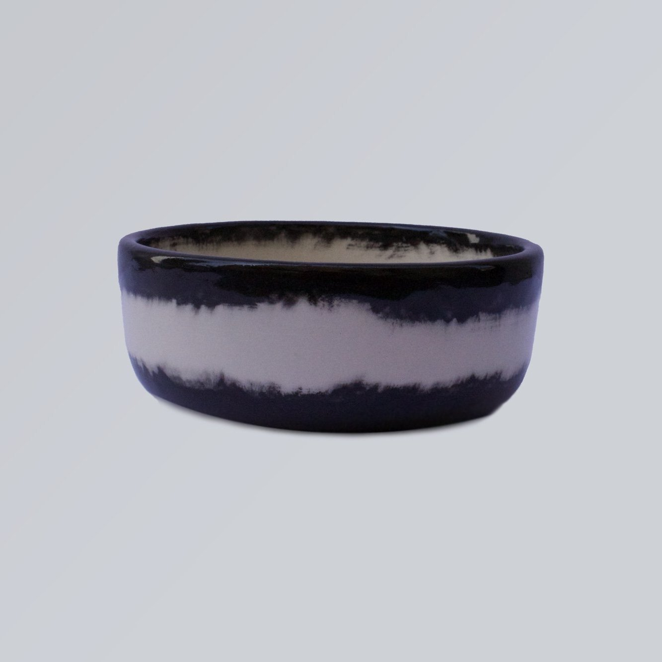 small ceramic black blur dog bowl