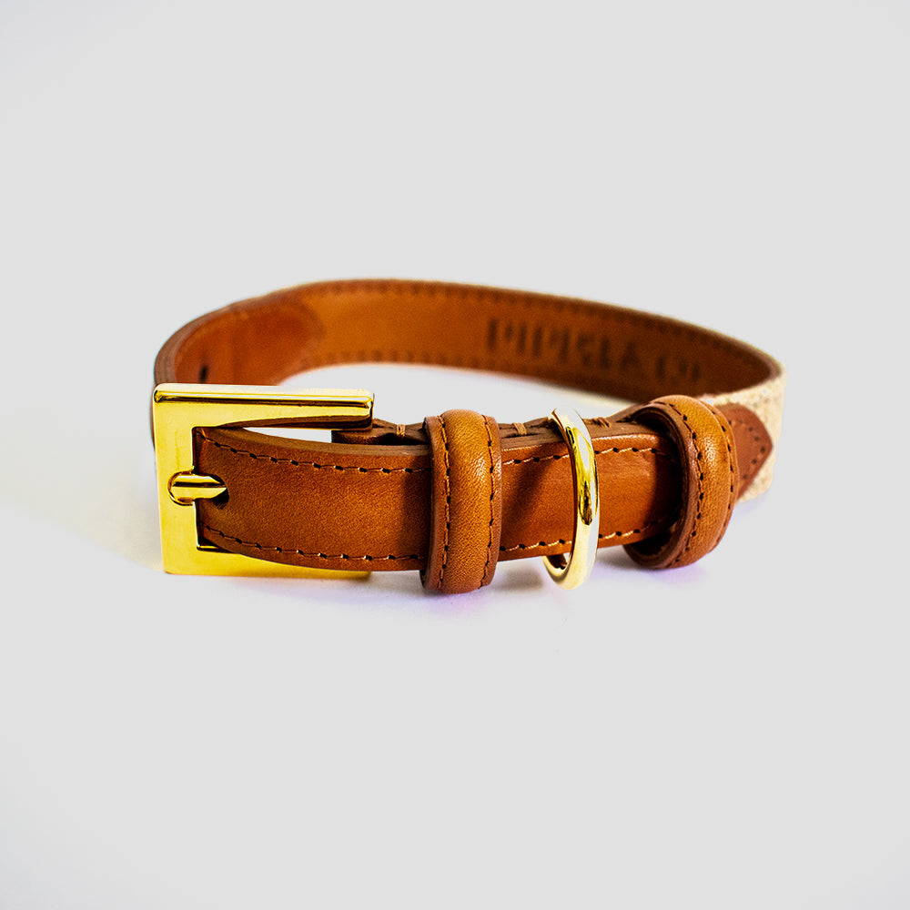 Pippa & Co Luxury Sandringham Dog Collar - Oatmeal