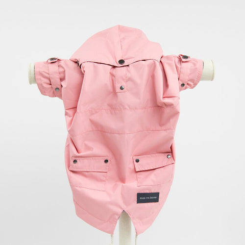 pink waterproof dog raincoat