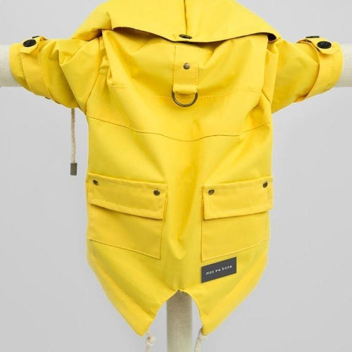 designer yellow waterproof rain jacket for dogs