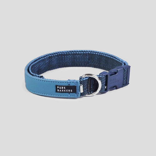 Park Barkers Blue Vegan Leather Hyde Dog Collar