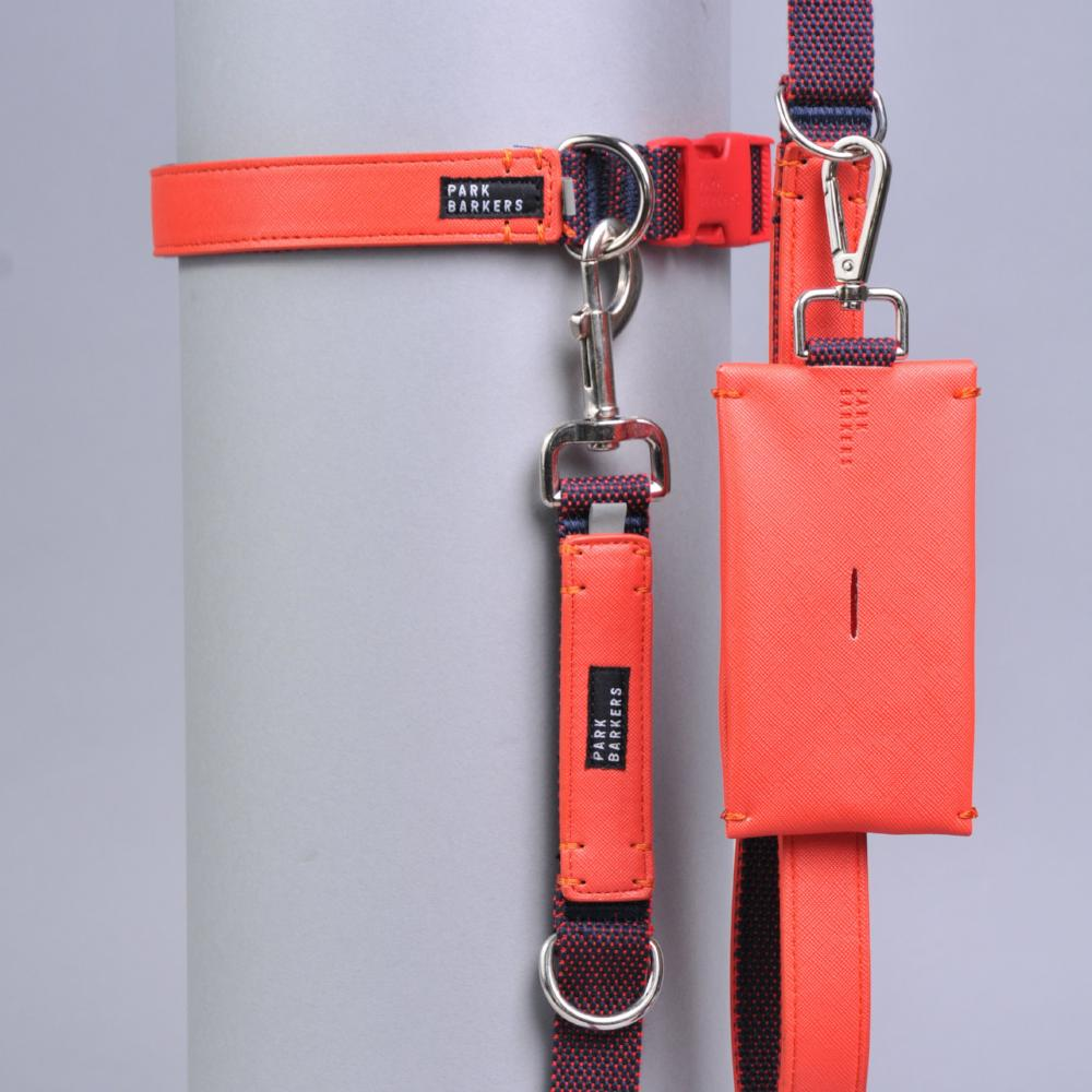 matching dog collar and lead with poop bag holder in red leather