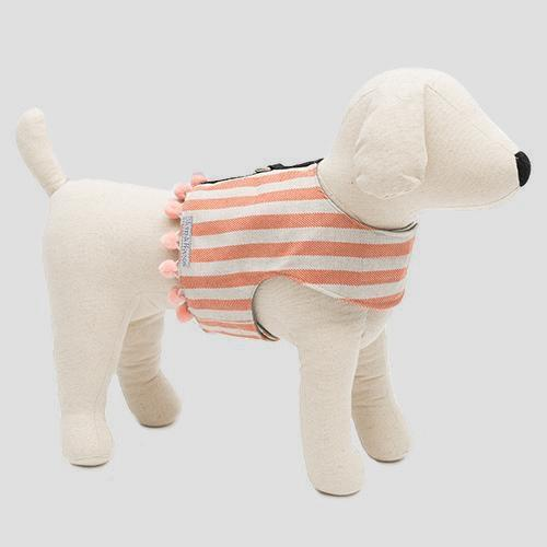 Mutts & Hounds Orange Stripe Brushed Cotton Dog Harness