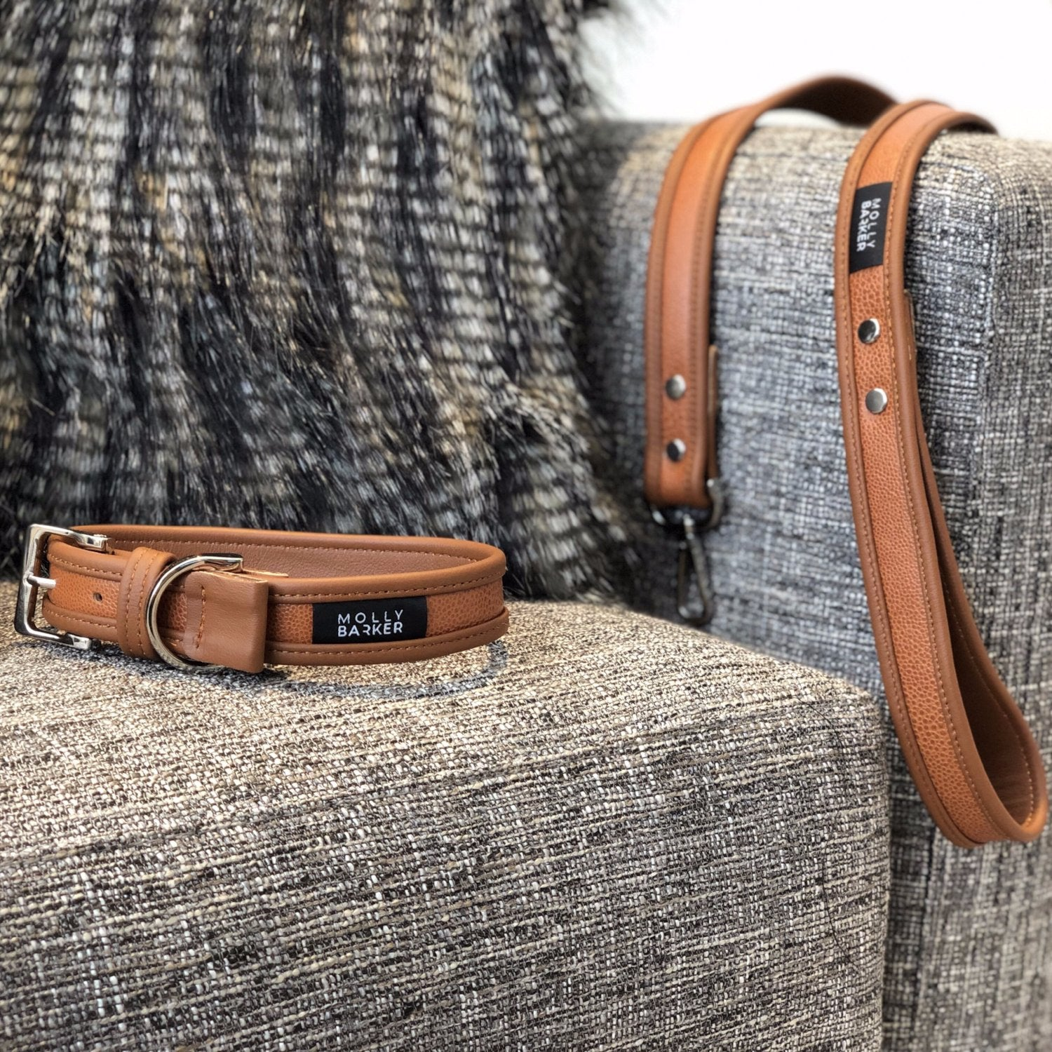 luxury brown leather dog lead