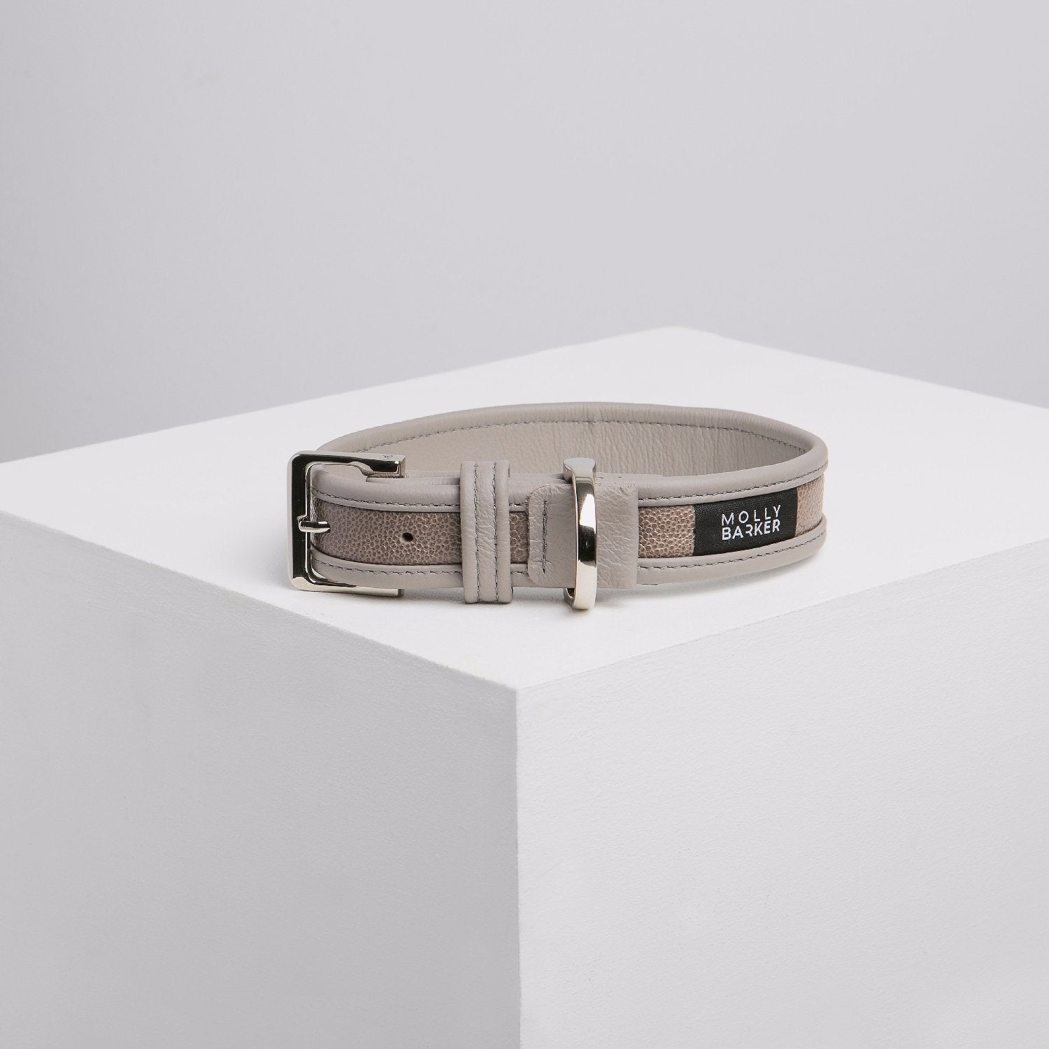 Molly Barker Sasha Leather Dog Collar - Grey