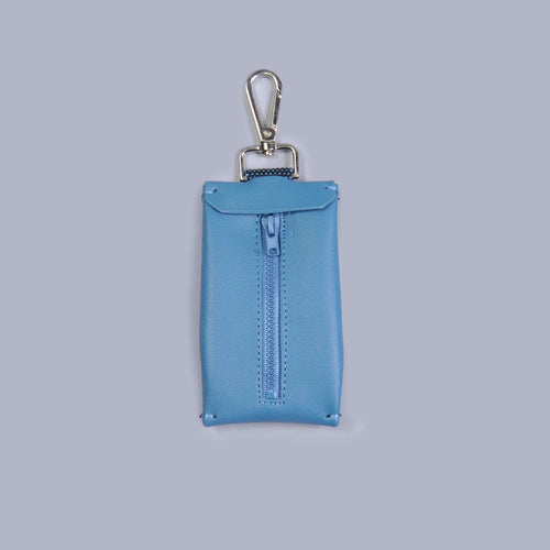 blue vegan leather dog waste bag holder