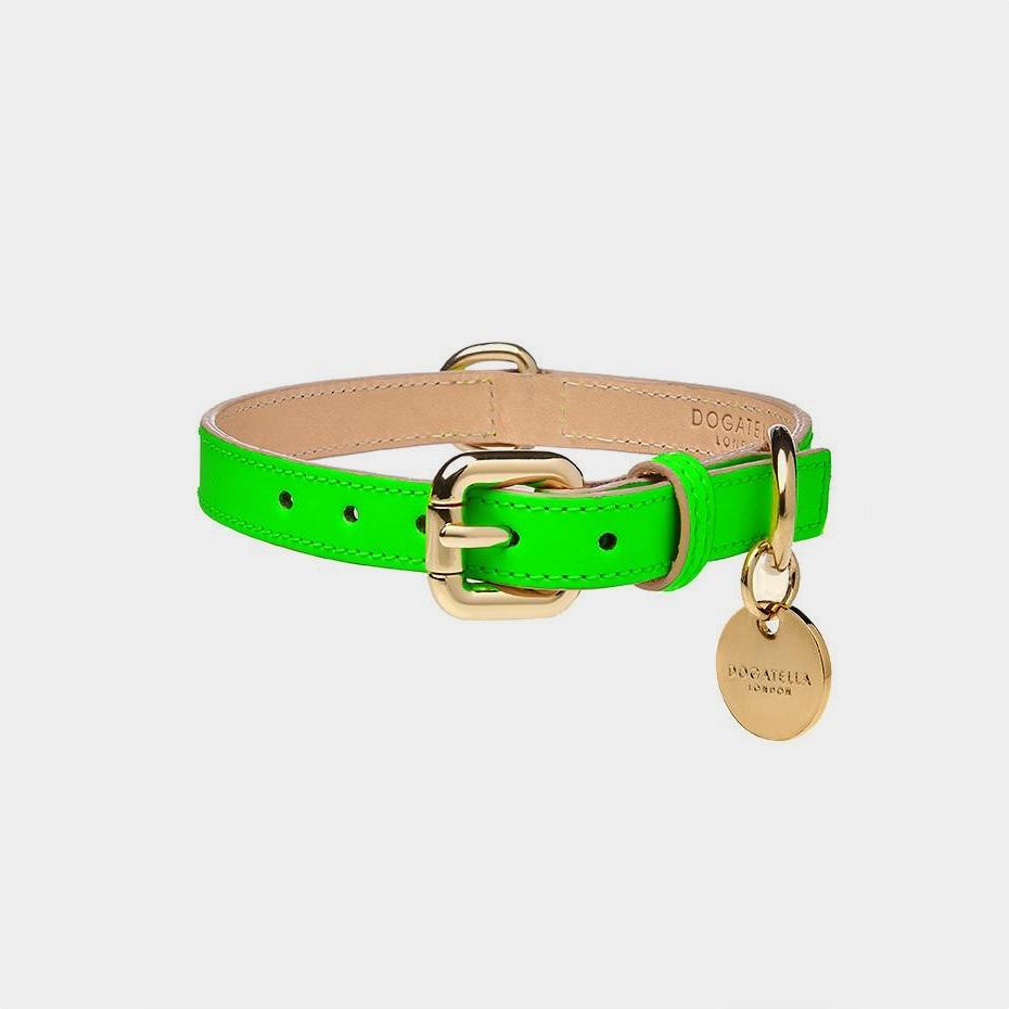 Dogatella Glow Green Leather Dog Collar