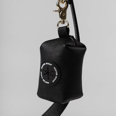 black leather dog poop bag dispenser