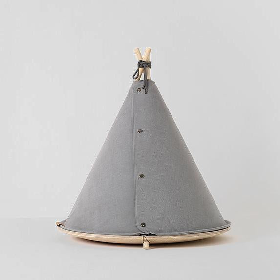 grey dog teepee