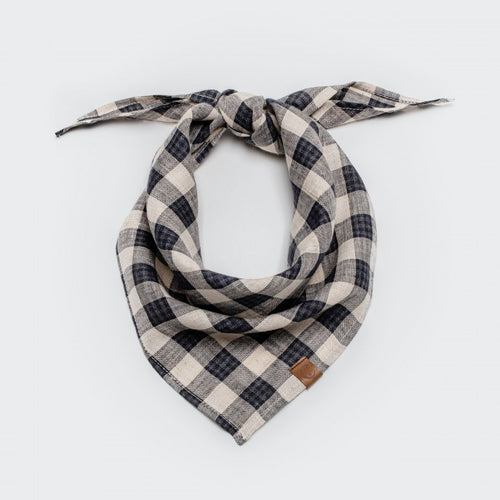 Cloud7 Dark Blue and Beige Check Dog Bandana