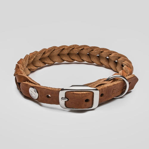 Cloud7 Central Park Camel Leather Dog Collar