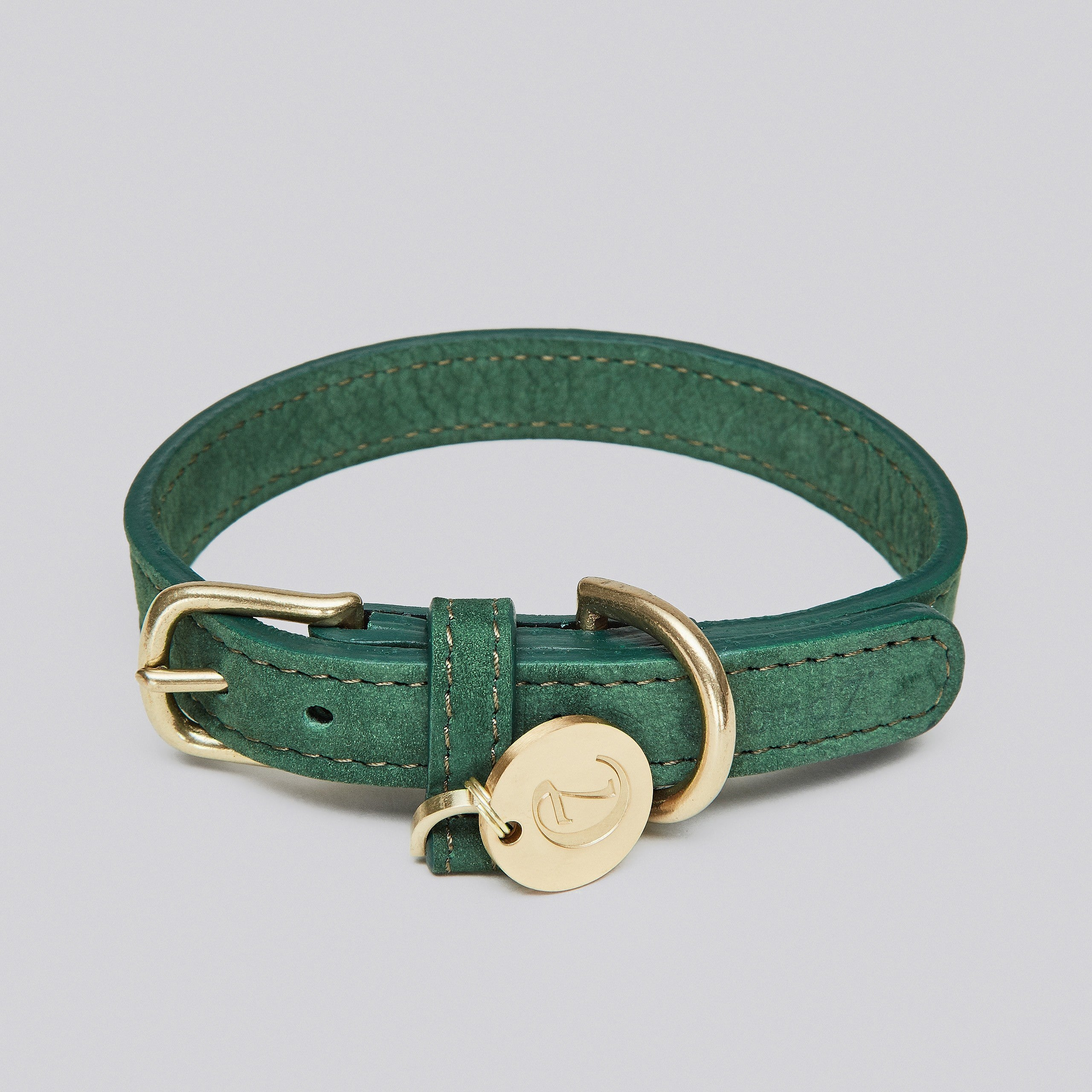 Cloud7 Tiergarten Park Green Leather Dog Collar