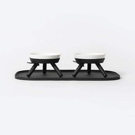 raised dog feeder stand and bowl