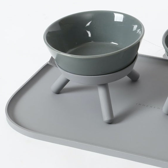 grey feeding mat for dog bowls