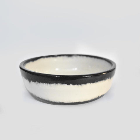 btw Ceramics Black Shibori Ceramic Dog Bowl