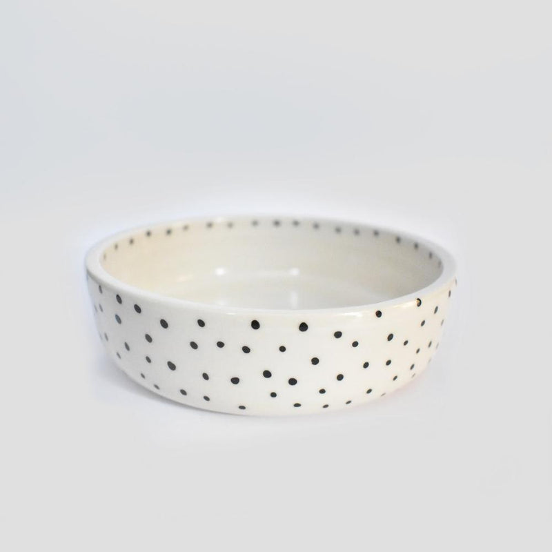 large polkadot ceramic dog bowl