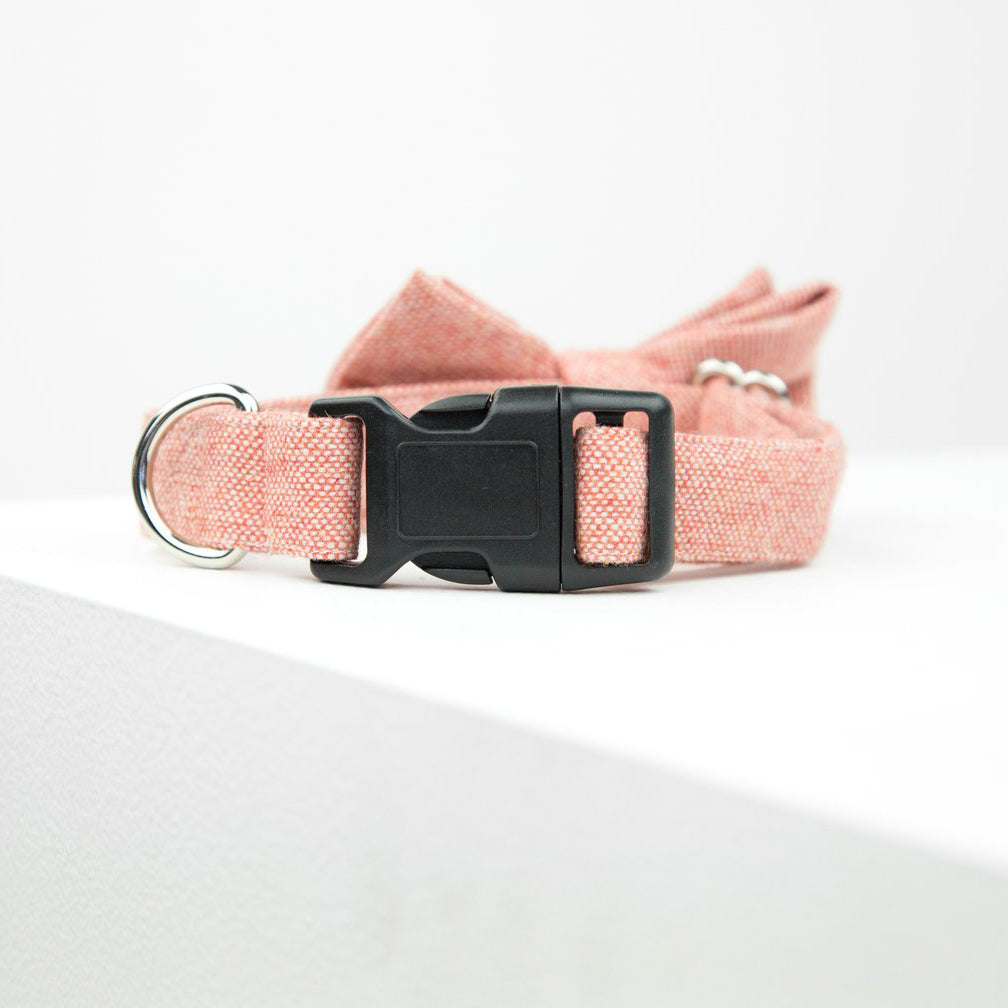 pink bow tie dog collar