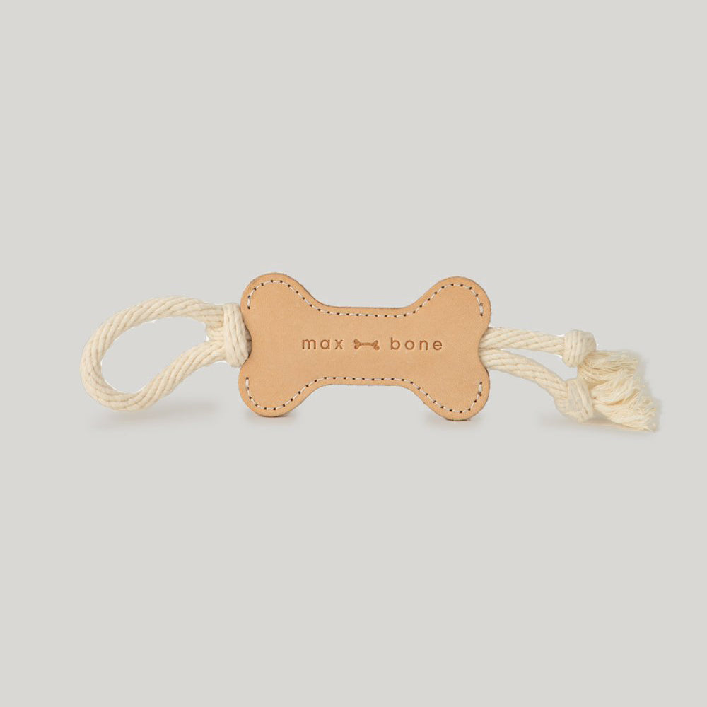 Max Bone Leather Bone Rope Dog Toy