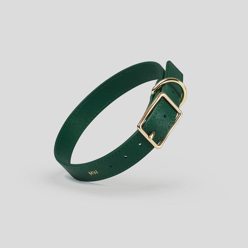 Mister Woof Royal Green Classic Leather Dog Collar