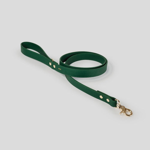 Mister Woof Royal Green Classic Leather Dog Lead