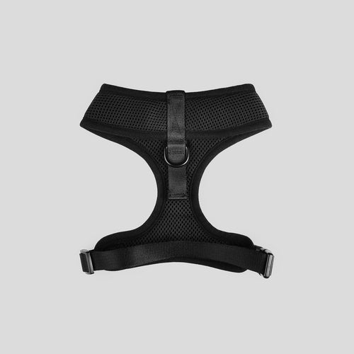 Soft black fabric dog harness