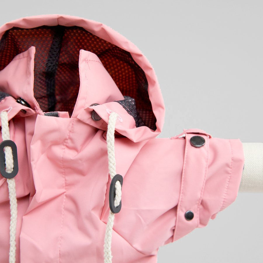 designer pink waterproof rain coat for dogs