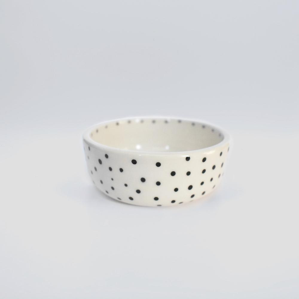 polkadot small ceramic handmade dog bowl