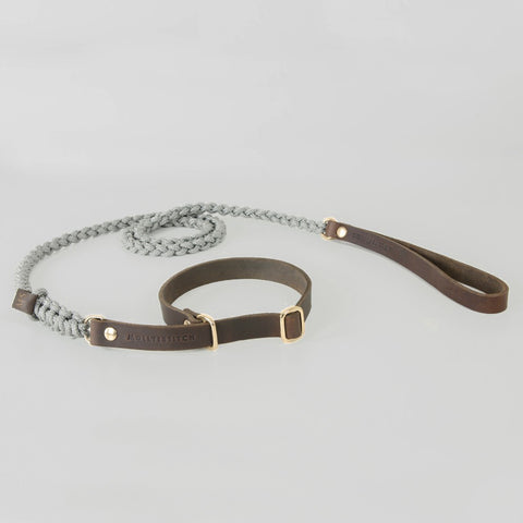 Cloud7 Central Park Grey Leather Dog Collar