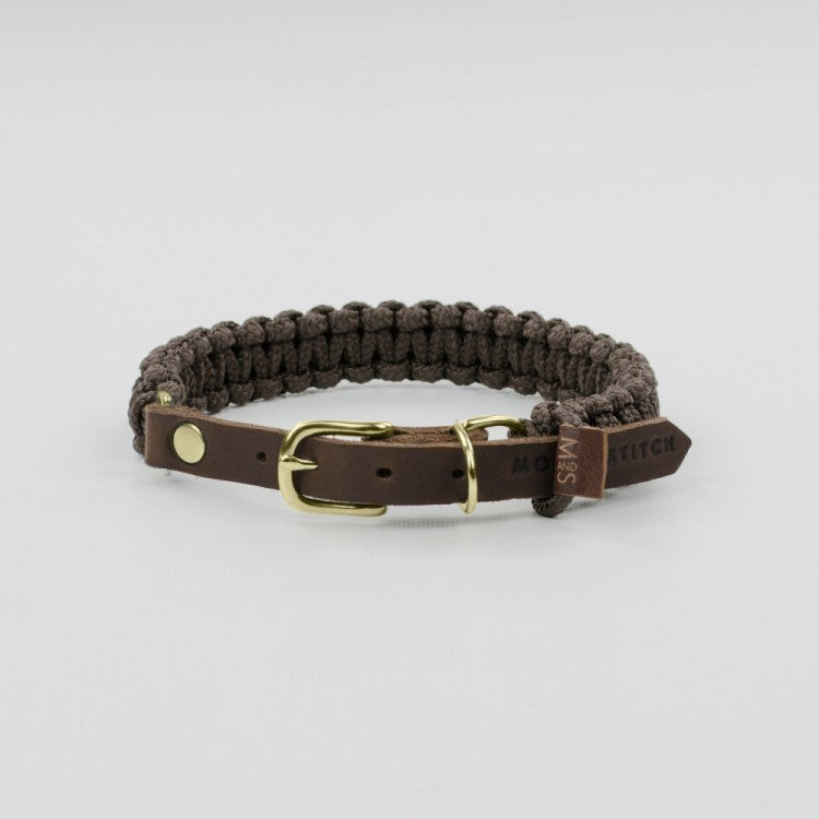 Molly & Stitch Touch of Leather Rope Dog Collar - Chocolate