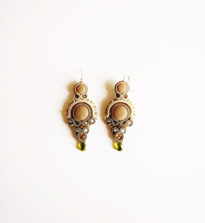 Beige-Gold Earrings - Italian Treasures
