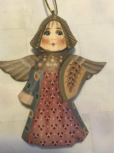 Set of 3 wood angel ornaments