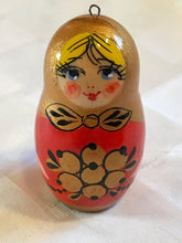 Set of 6 matryoshka-style wood ornaments