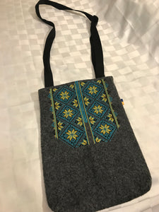 "Wool embroidered ""Ukraine"" large crossbody - traditional design, so useful!"