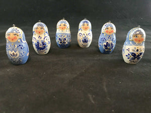 Set of 6 wood Matryoshka ornaments
