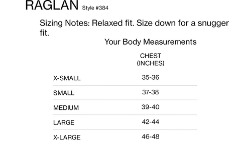 harvest + mill raglan sizing