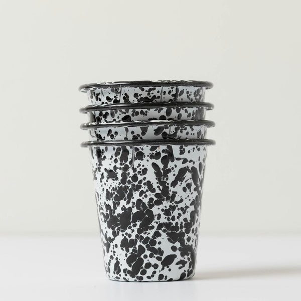 Short Enamel Tumblers- Black Splatter (Set of 4)
