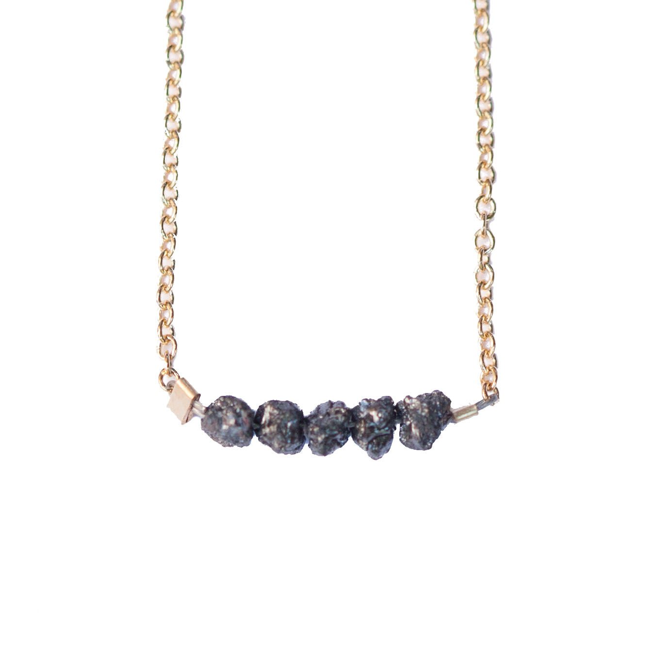 Diamond Bar Necklace - Black