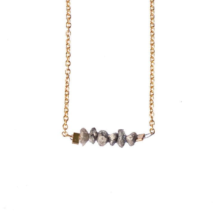Diamond Bar Necklace - Champagne