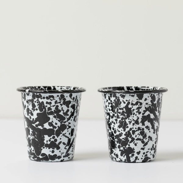 Short Enamel Tumblers- Black Splatter (Set of 2)