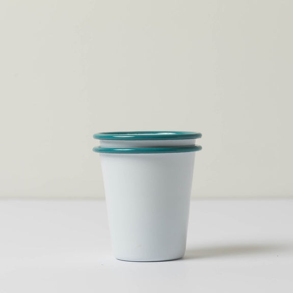 Short Enamel Tumblers- White & Teal (Set of 2)