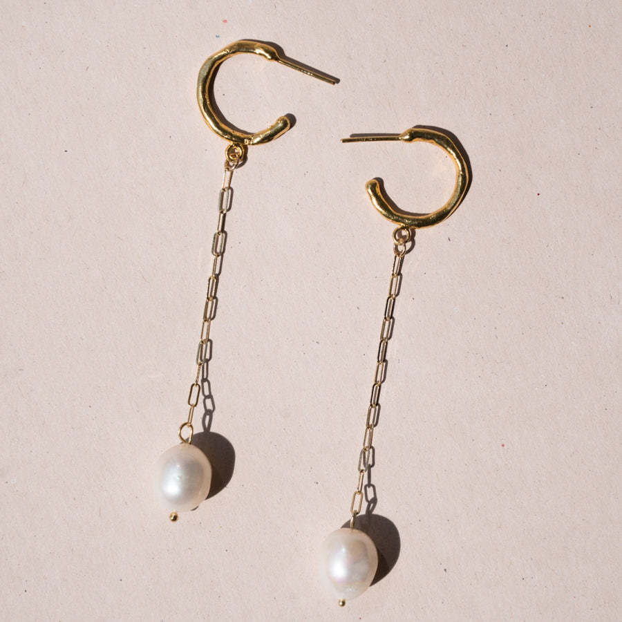 Lola Drop Earrings- Pearl + 14k Gold