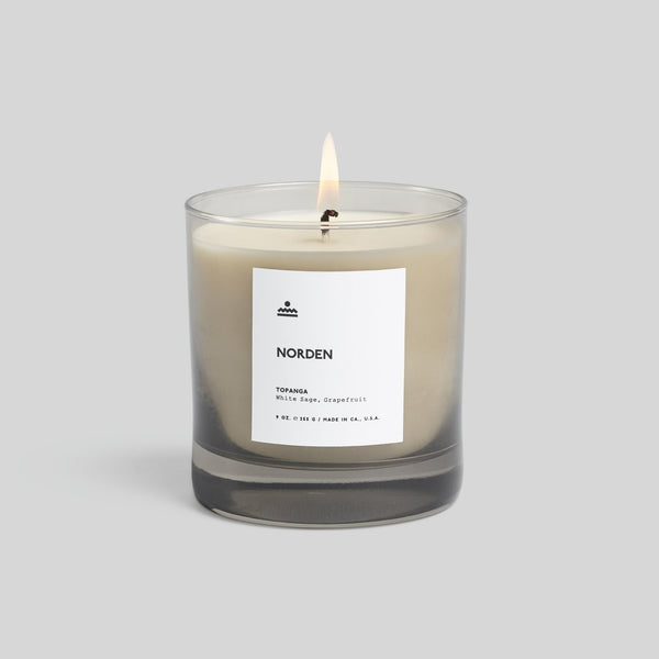 Topanga Glass Candle: Cypress, Sage, Grapefruit