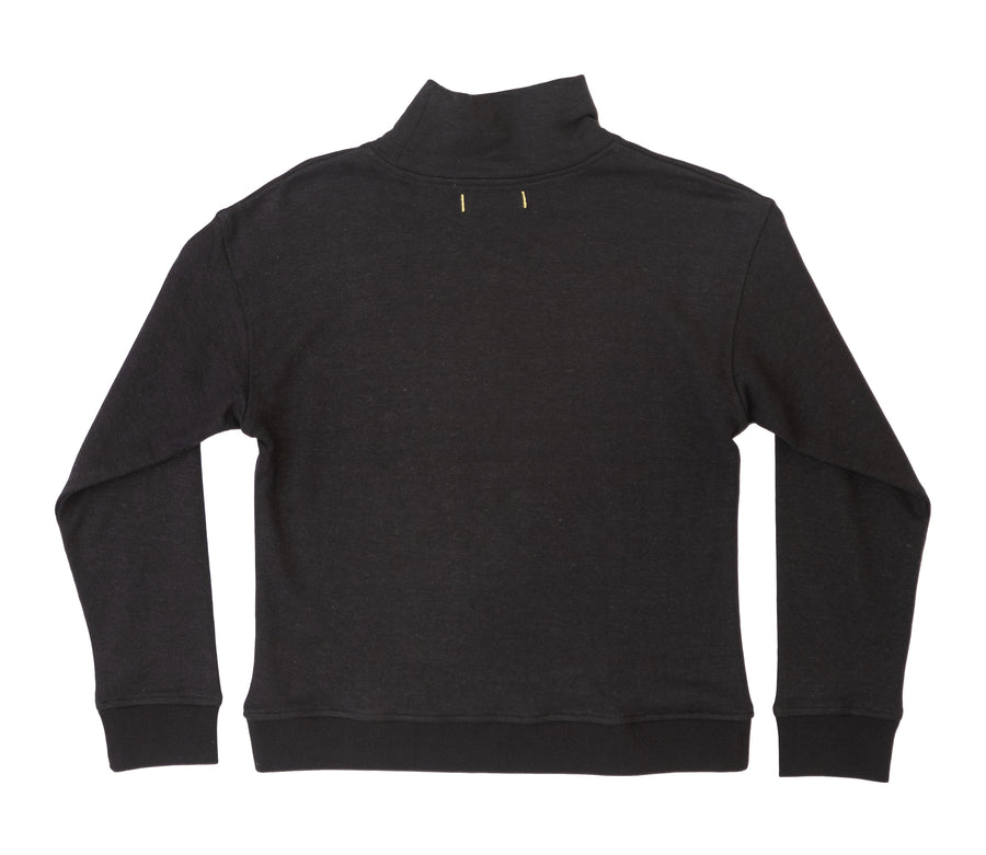 Pfeiffer Terry Funnel Neck Sweater- Black