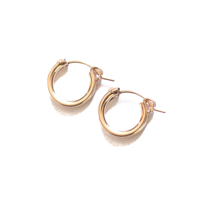 Petite Thick Gold Hoop Earrings