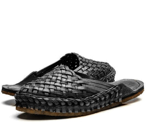 Women's City Slipper- Woven Leather BLK