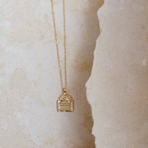 Janus Necklace- 14k Gold Vermille
