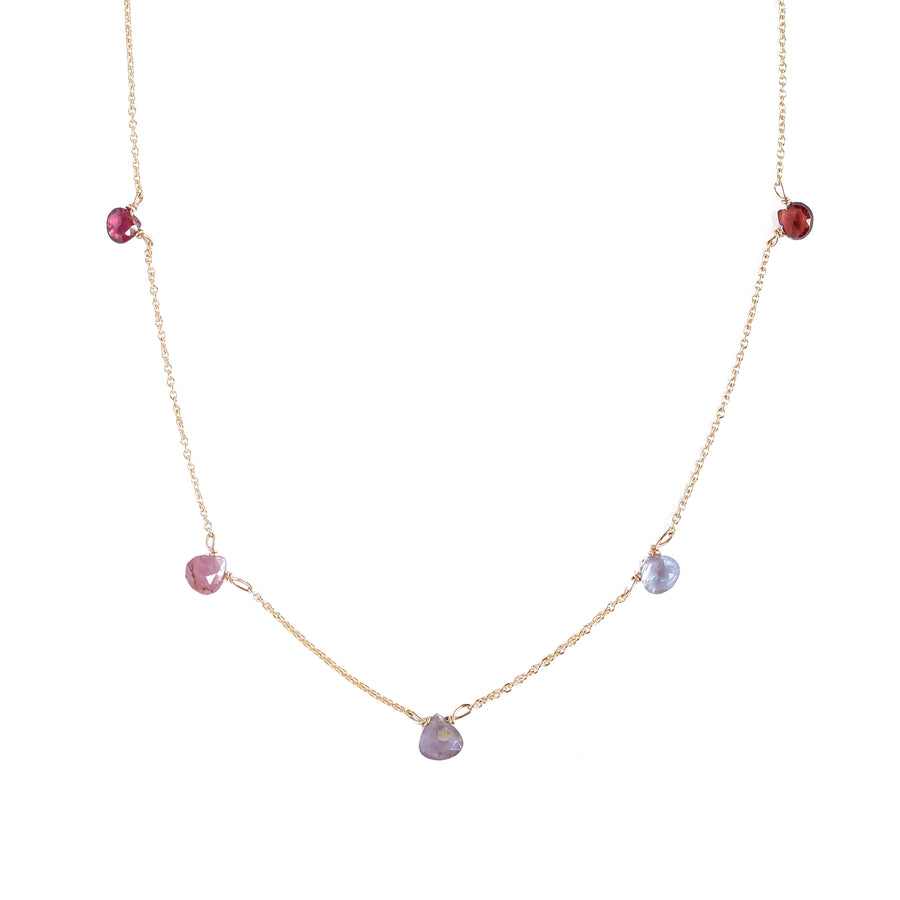 Ombre Multi-Gemstone Necklace- Reds
