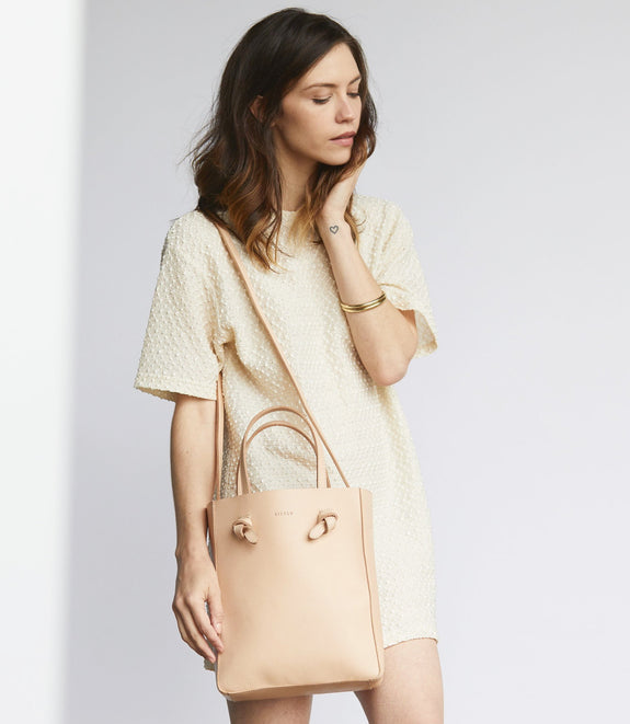 Simon Crossbody Tote- Natural Vachetta