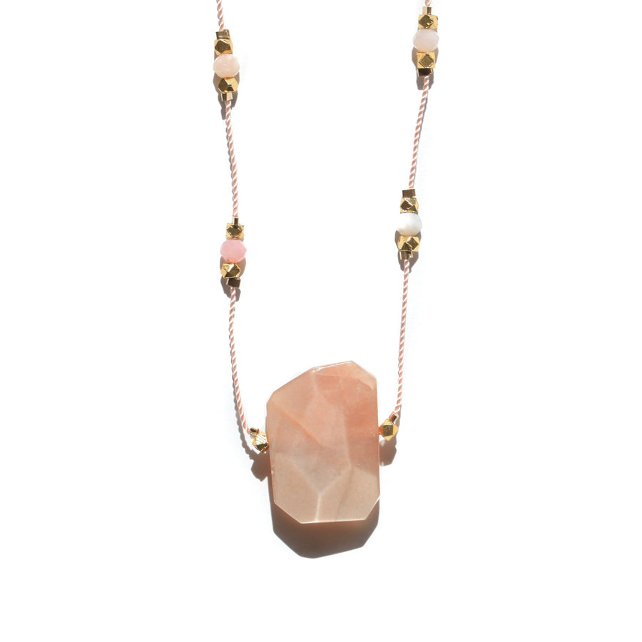 Peach Sunstone Stars Necklace